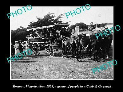 Old Large Historic Photo Of Torquay Victoria, Group In The Cobb & Co Coach 1905