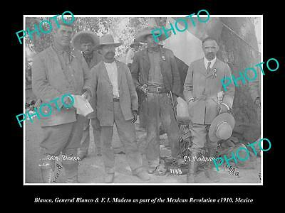 OLD LARGE HISTORIC PHOTO OF GENERAL BLANCO FROM THE MEXICAN REVOLUTION c1910