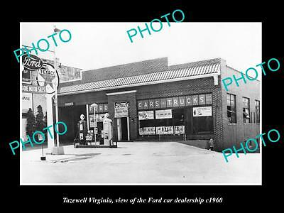 OLD LARGE HISTORIC PHOTO OF TAZEWELL VIRGINIA, THE FORD CAR DEALERSHIP c1960