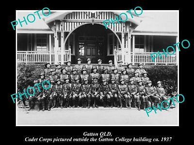 OLD LARGE HISTORIC PHOTO OF GATTON QLD, CADET CORPS OUTSIDE THE COLLEGE c1937