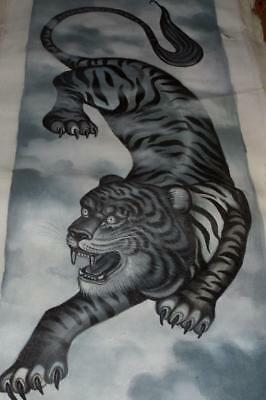 Orignal TIGER BALI Oil PAINTING on Canvas Black White & Grey Signed YANIK II