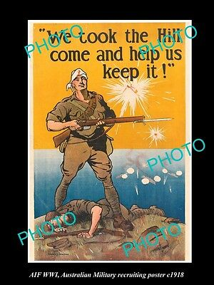 Old Large Historic Photo Of Australian Military Wwi Anzac Recruiting Poster 1918