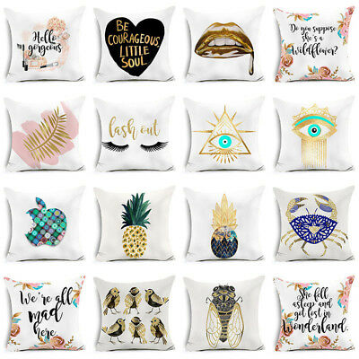 """18"""" Gold Art Words Polyester Printed Pillow Case Sofa Cushion Cover Home Decor"""