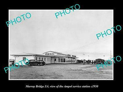 Old Large Historic Photo Of Murray Bridge Sa, The Ampol Oil Service Station 1950