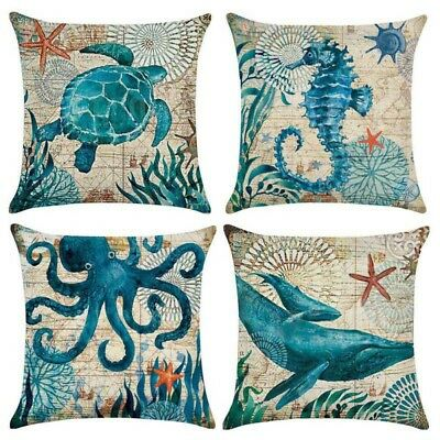 "18"" Cotton Linen Waist Throw Pillow Case Animals Cushion Cover Home Sofa Decor"