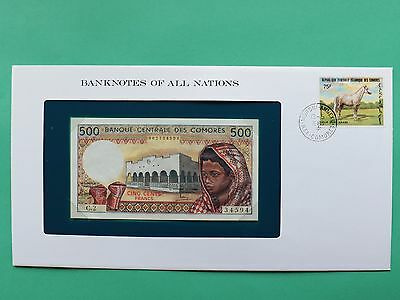 Comores 500 Francs Uncirculated Franklin Mint Banknote Cover SNo46179