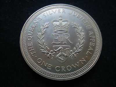 """Mds Isle Of Man One Crown 1977 """"the Queen's Silver Jubilee Appeal"""" Silber  #5"""