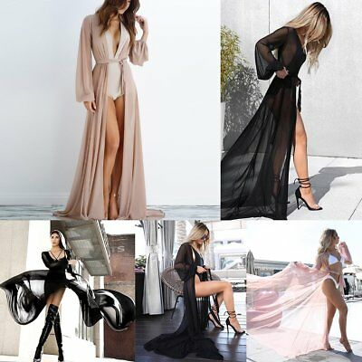 New Women Mesh Bikini Long Cover Up Cardigan Swimwear Beach Bathing Maxi Dress
