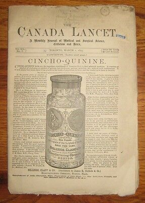 1875 The Canada Lancet, Medical and Surgical Journal w/Advertising