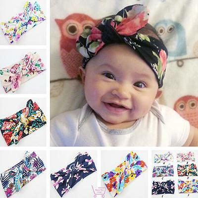 Infant Baby Girls Newborn Flower Bowknot Headband Rabbit Ears Hair Bands