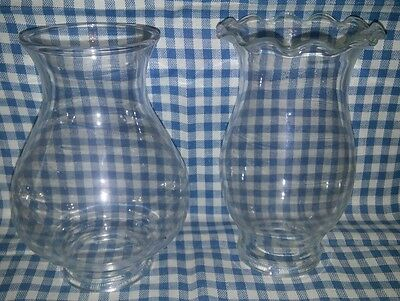 Lot of 2 Lipped Flange Set Screw Oil Lamp Chimneys - Sizes Vary - Look!
