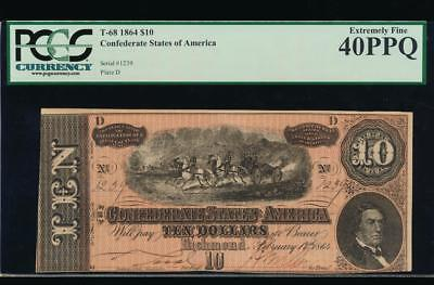 AC T-68 $10 1864 Confederate Currency CSA PCGS 40 PPQ