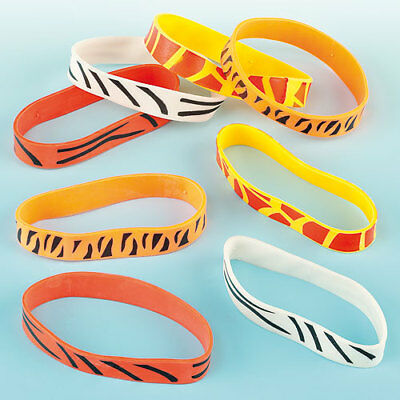 Animal Print Wrist Bands, Party & Stocking Fillers, Lucky Dip Prizes(Pack of 12)