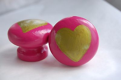 Set of 2 Hand Painted Daisy and Heart Drawer Handles 40mm diameter