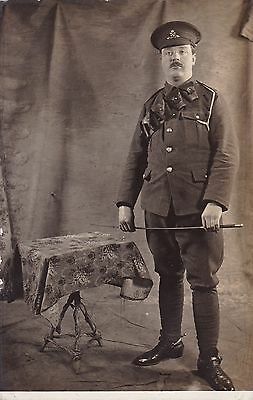 """WW1   """"  Poignant photo of Handsome Artillery Soldier """" unused card"""