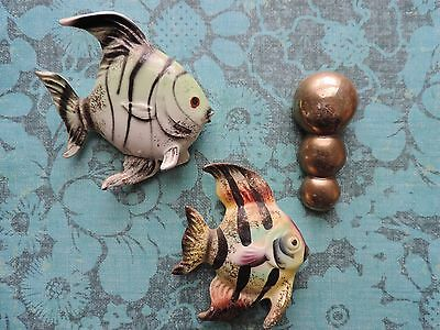 Vintage 1950s Ceramic Fish Wall Plaque JAPAN Angelfish Bubbles Wall Hanging Pair