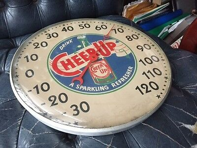 Original RARE CHEERS UP Glass Faced Advertising Thermometer