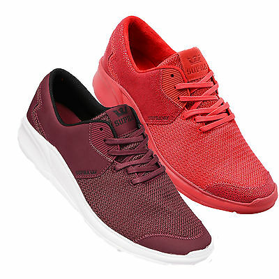 Supra Mens Noiz Lace Up Active Gym Sport Lo Top Red Burgundy Trainer