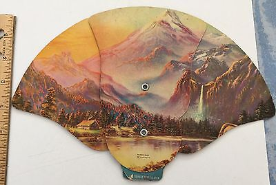 VINTAGE ADVERTISING FAN Sprague's Funeral Home Gouverneur NY  Mountains