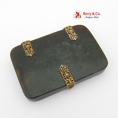 Antique Faux Tortoise Shell Box 18k Gold Ornate Hinges and Lockc 1840-60