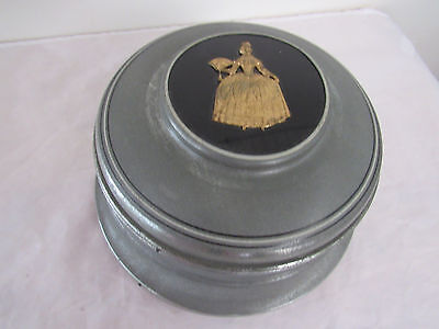 Vintage Antique Metal Music Box Jewelry Trinket Box With Glass Insert Victorian