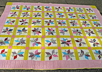 Antique EIGHT POINT Star Quilt ALL COTTON VERY COLORFUL FABRIC ALL Hand Made