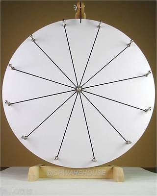 "20"" Woodwell® Tabletop White Dry Erase Fortune Prize Wheel,12Slots-Wood-Spinning"