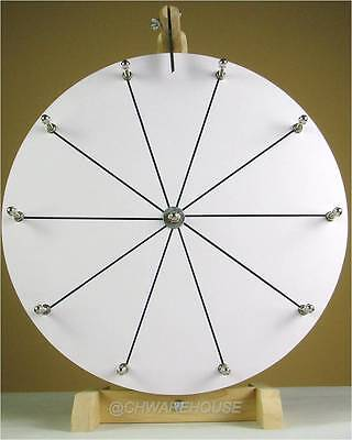 Woodwell 16 Inch White Tabletop Raffle Spin Prize Wheel Game 10 Slots Dry Erase
