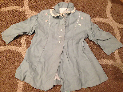 Vintage 1950's Baby Girls Lined Blue Coat With Lace Neck Trim~Flowers