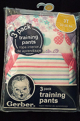 NEW/NWT Gerber Training Pants/Baby-Toddler Girl/Flowers & Butterflies 3-Pack/3T