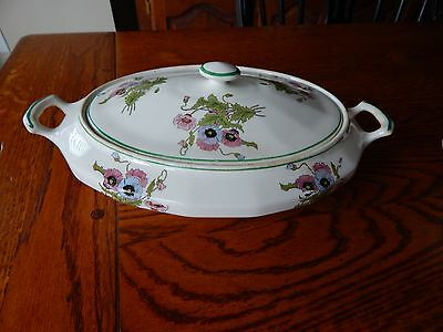 Vintage Edwin Knowles Semi Vitreous Covered Vegetable Blue Pink Poppy Pattern