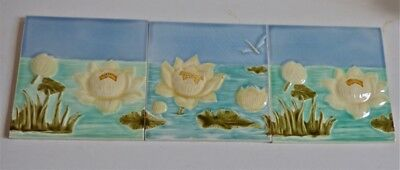 °  Awsome Set of 3 tile ART NOUVEAU TDAG Waterlily Dragonfly Nenuphares Seerose