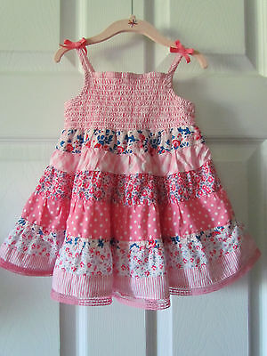 1989 Place Adorable Pink Smocked Baby Toddler Girl Summer Dress Size 9-12 Months