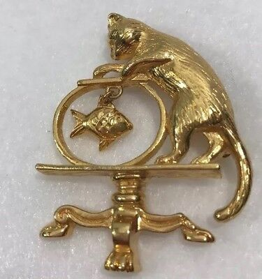 Vintage Avon Cat After Fish in a Fishbowl Brooch Pin Goldtone