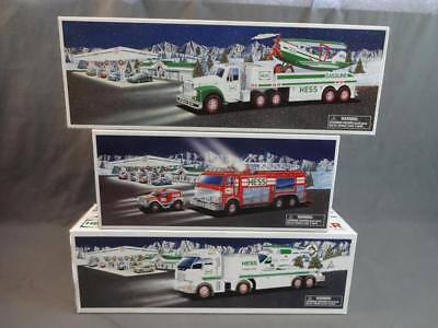 Hess Toy Truck Lot 2005 Fire Engine 2002 Airplane & 2006 Helicopter Transporters