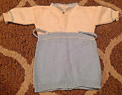 "Vintage Knit Baby Hand Made Blue & White Long Sleeve Romper 11""-13"" Chest"