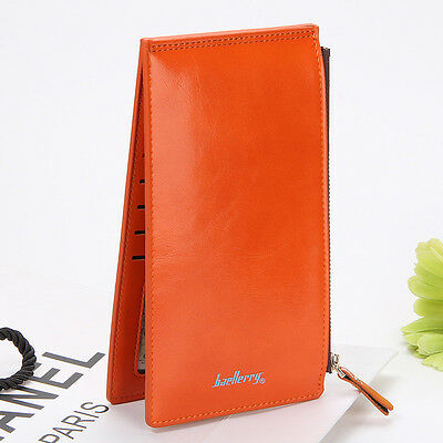 Fashion Women Leather Card Holder Double Zipper Wallet Money Coin Purse Orange