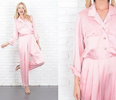 Vintage 80s Pink Jumpsuit Retro Slouchy Draped Pleated Small S