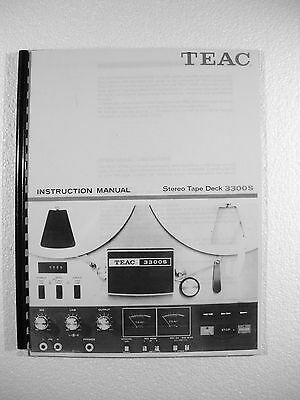 One New Copy Teac 3300S Reel To Reel Tape Deck Recorder Owner's Manual