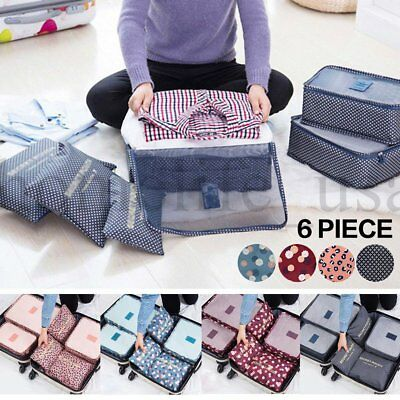 6Pack Waterproof Travel Storage Bags Clothes Packing Cube Luggage Organizer Bag