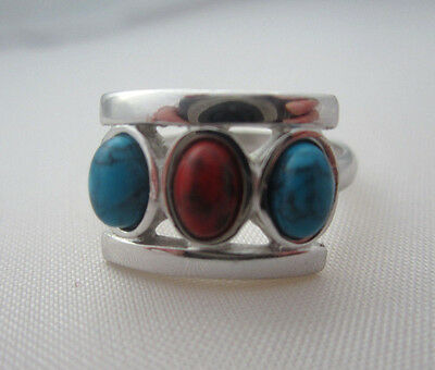 Vintage SARAH COVENTRY FAUX TURQUOISE & CORAL SILVER TONE RING Southwestern Red