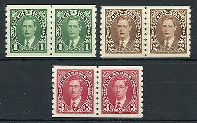 Weeda Canada 238-240 VF MNH set of KGVI Mufti coil pairs, superb 3c CV $72