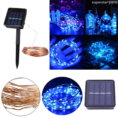 Solar powered Blue 20M 66FT 200LED Copper wire Xmas Carnival Party Fairy light