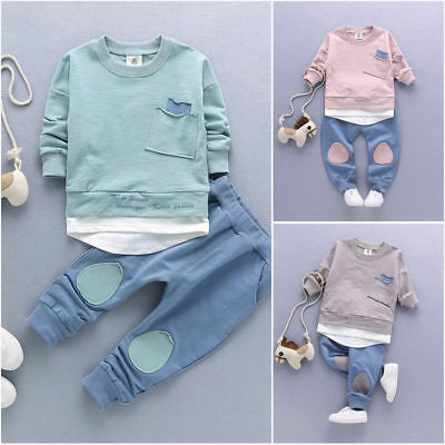 Newborn-4T Kids Baby Boys Clothes Outfit Shirt Tops+Pants Casual Cotton Clothing