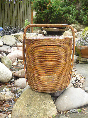Antique Cane Wedding Vintage Oriental Woven Stacking Basket chinese sewing N/R