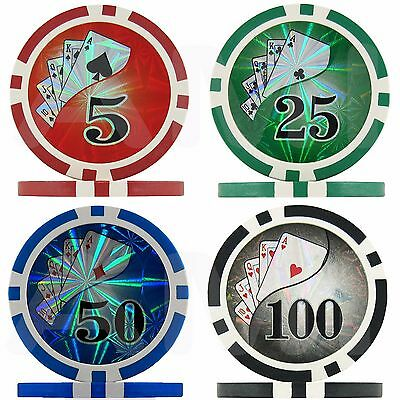 50x Coloured Laser Vegas Casino Poker Chips Face Value 1 5 25 50 100 Red Blue
