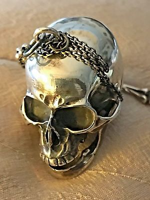 Craig Compton. Solid Silver Watch Case And Fob Chain, Skull, Bones & Key, Superb