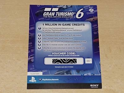 Gran Turismo 6 1 Million In game Credits Token Card PS3