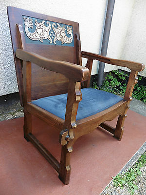 Antique Art Deco Carved Oak Monks Bench, Chair,table, Good Quality & Condition