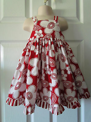 Adorable Red White Floral Toddler Girls Summer Dress Size 3T ?